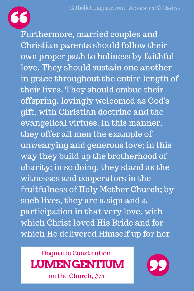 Paragraph on married couples and Christian parents from Lumen Gentium