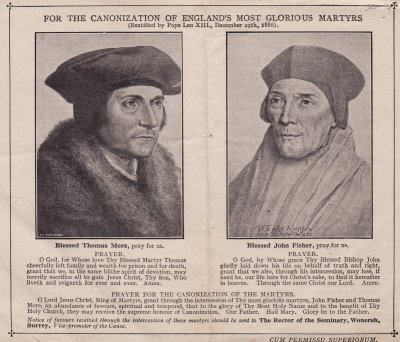 Thomas More & John Fisher - printed article with prayers for their future canonization