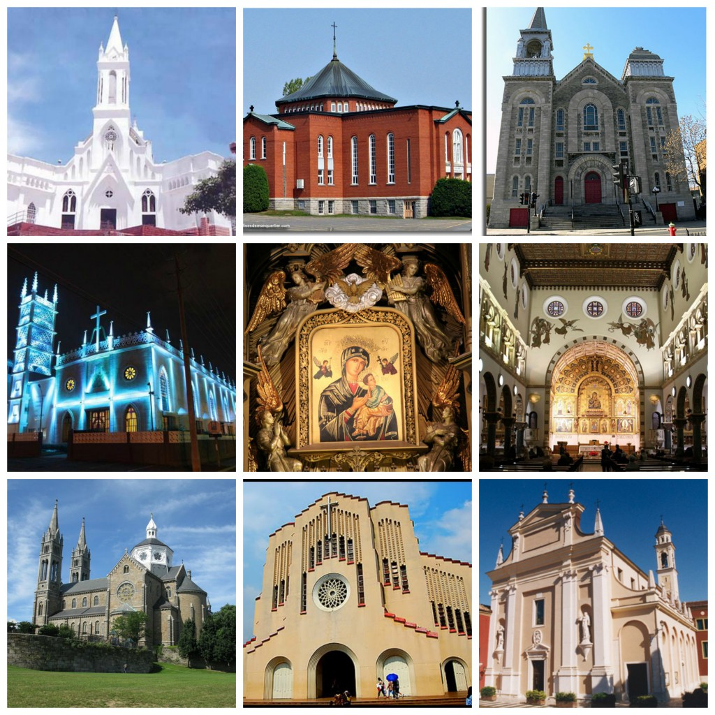 Just a few sample of churches all over the world, dedicated to Our Lady of Perpetual Help (Colombia, Québec, Venezuela, Spain, United States, Philippines, and Rome).