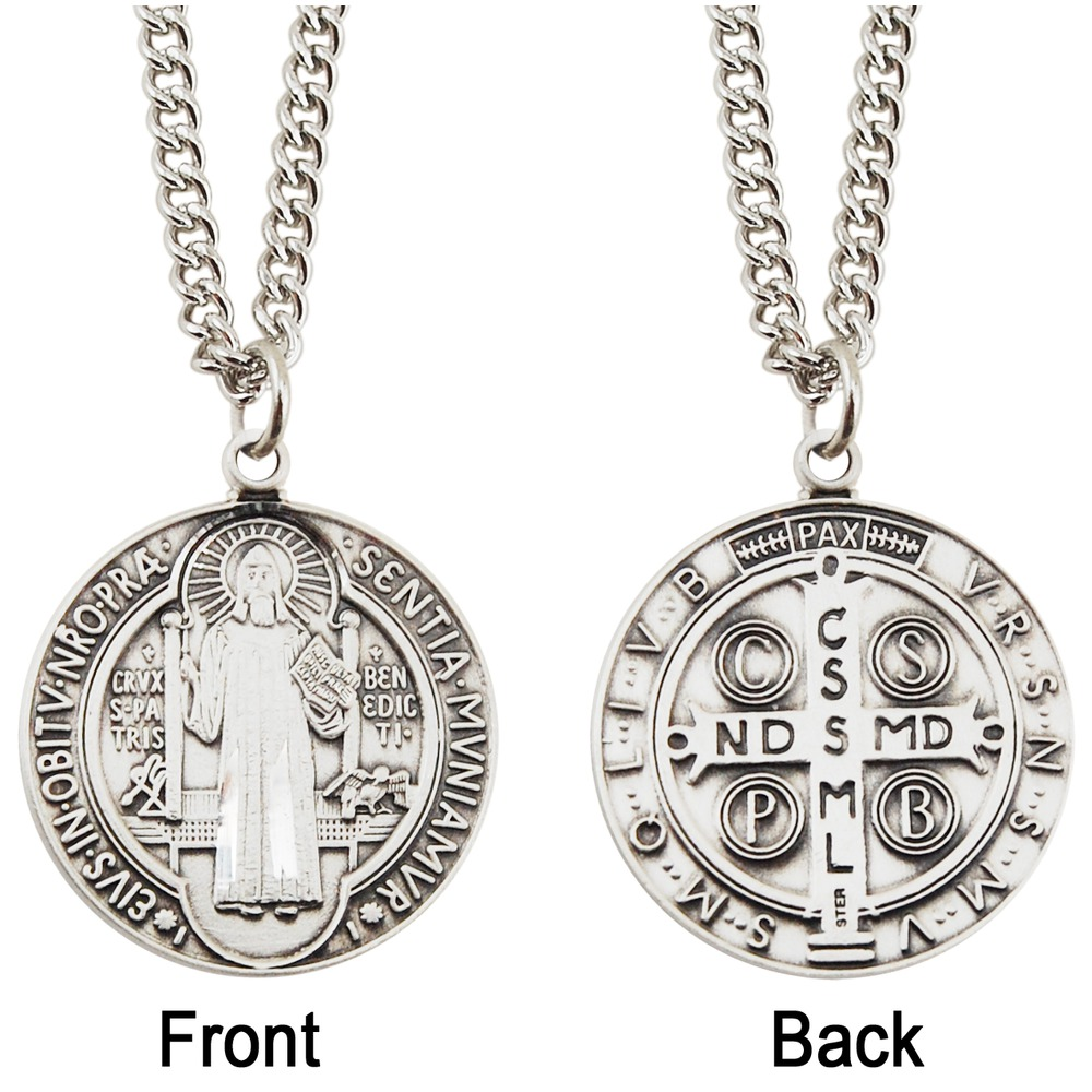 Sterling Silver St. Benedict Medal with 24 inch chain