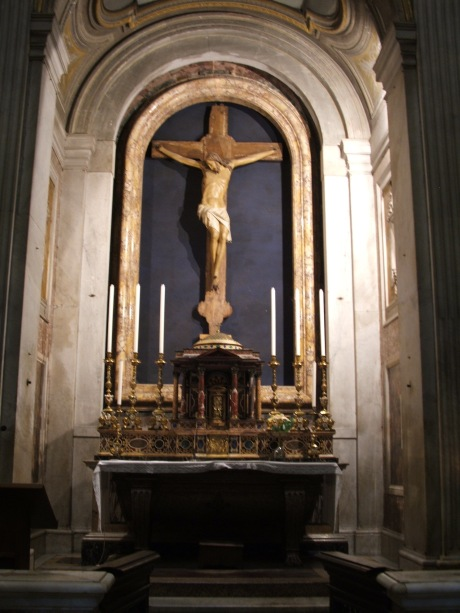 This is the medieval crucifix in a chapel inside the Church of St. Paul Outside the Wall in Rome. It is the same crucifix before which St. Bridget prayed when she received the revelation of the 15 prayers.