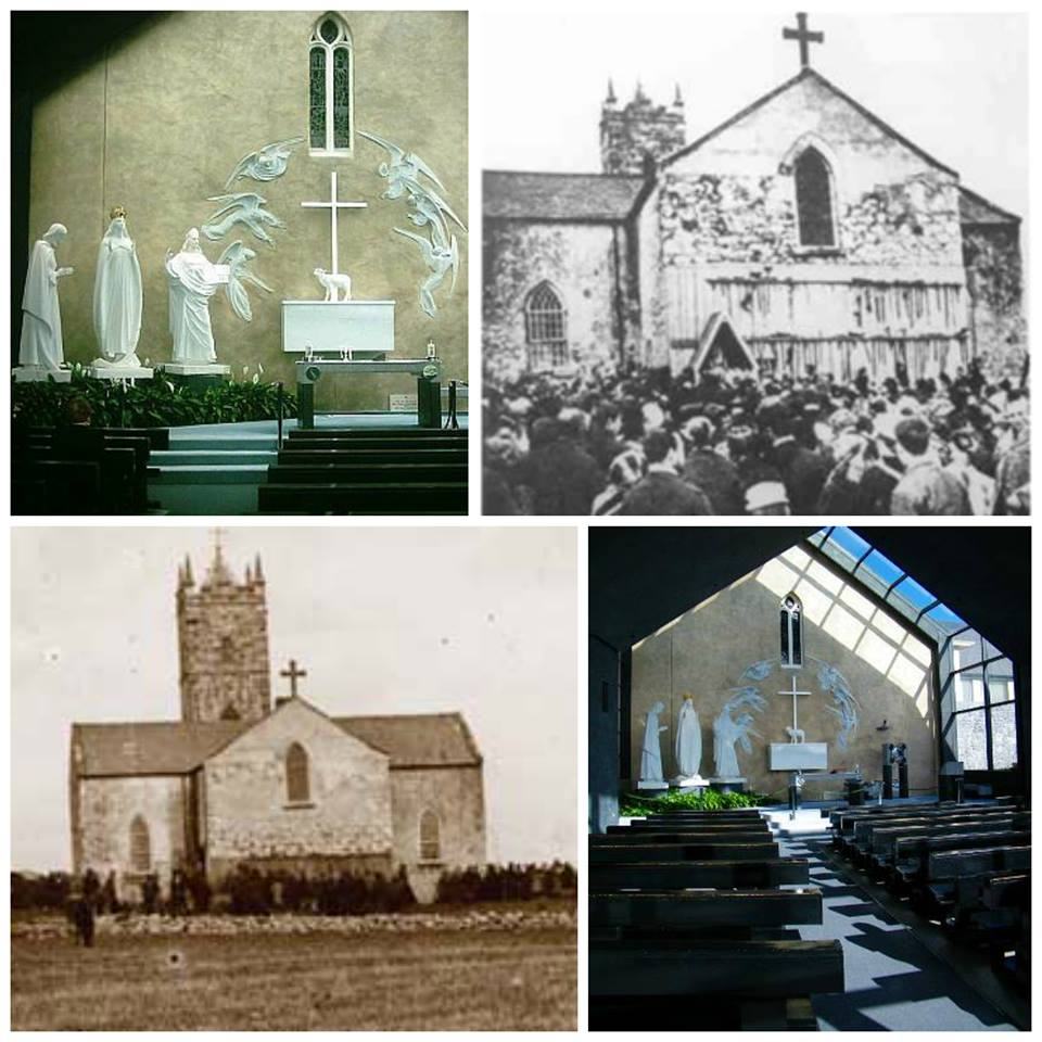 Before and after photos of the Marian apparition site in Knock, Ireland.