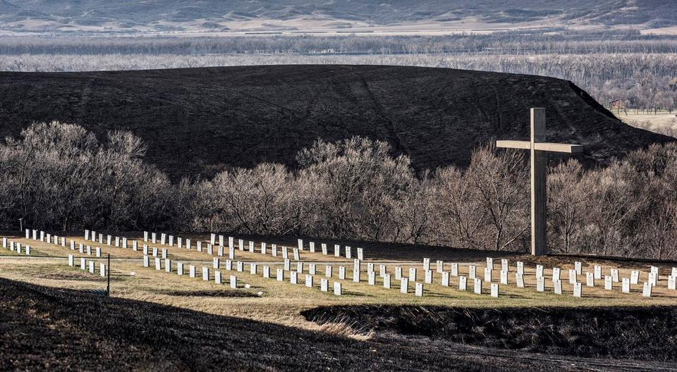 UMary grass fire, cemetary of nuns left untouched.