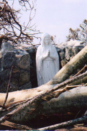 Our Lady was left standing and undamaged after Hurricane Katrina. St. Clare's parish in Waveland, Miss
