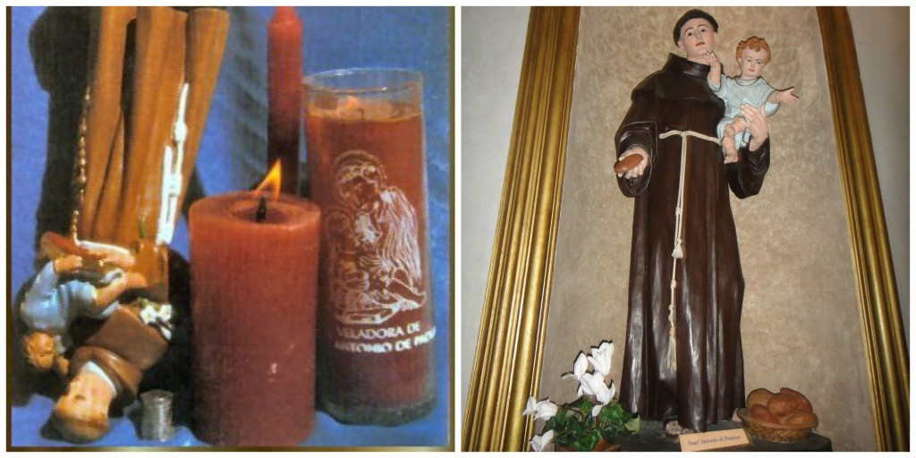 Part of the custom in some places in Latin America and Spain is display St. Anthony upside down and with bread.