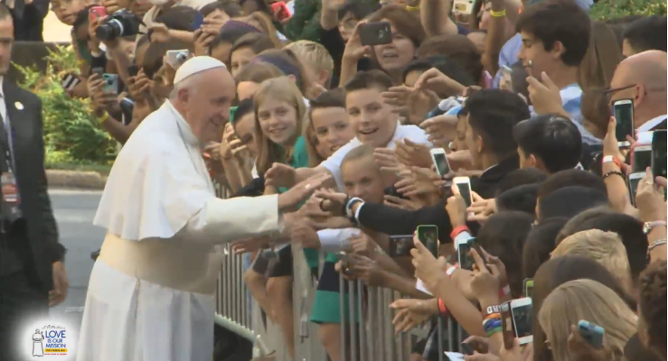 Pope Francis Greets Youth
