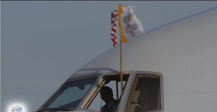 Papal Flag U.S. Flag Plane