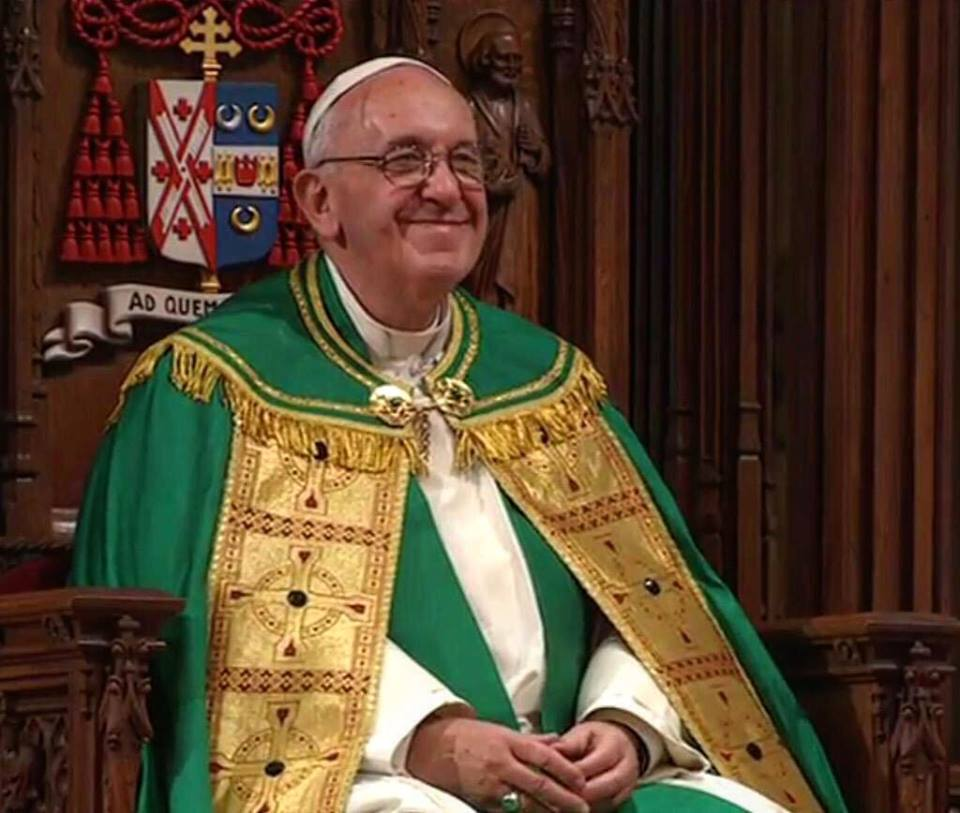 Pope Francis Big Smile at St Patricks Cathedral
