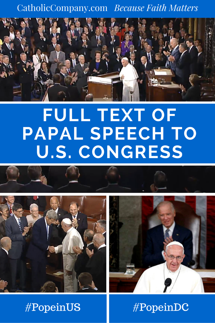 Read the historic speech of Pope Francis - the first ever by a Pope to a joint session of Congress.
