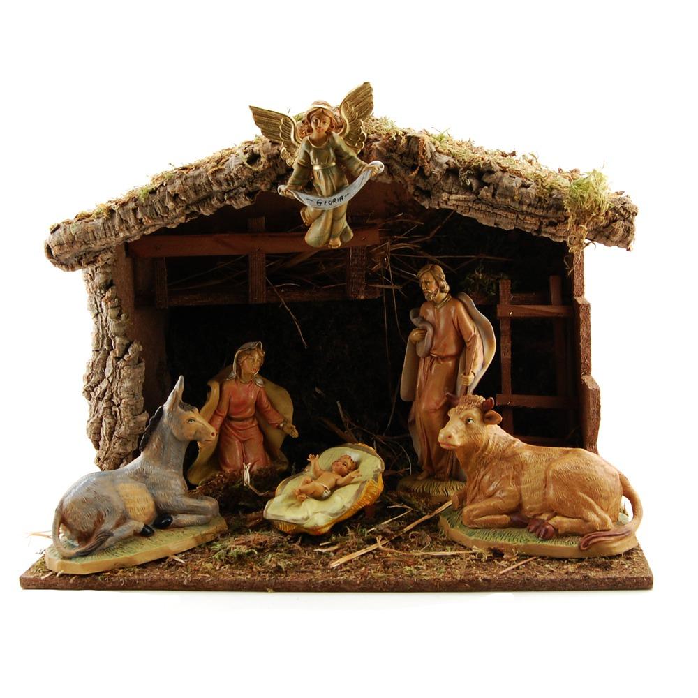 Pellegrini Nativity Set w/ Stable, 7 pc