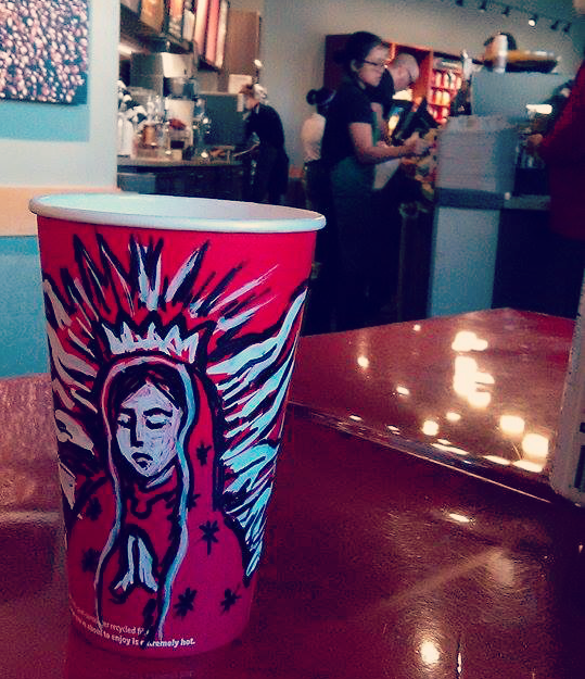 Catholic-style Starbucks coffee cups - Our Lady of Guadalupe!