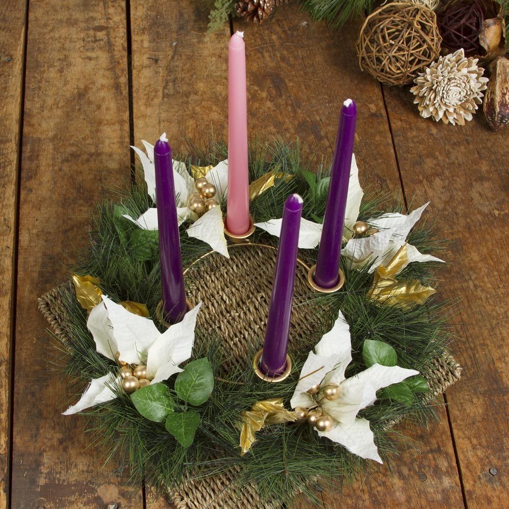 White Poinsettia Advent Wreath