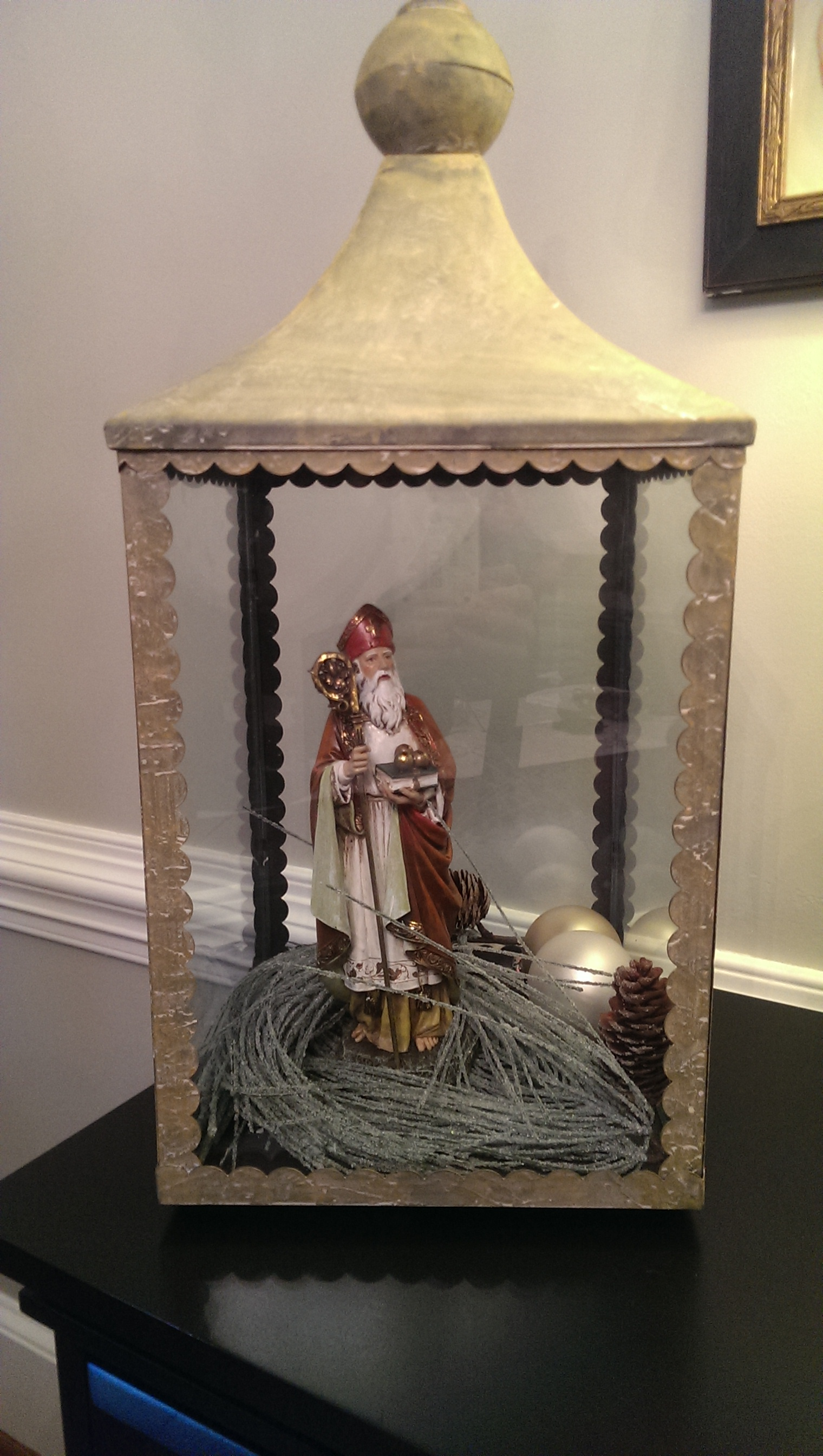 Neat decorating idea! St. Nicholas inside this Chapel Lantern