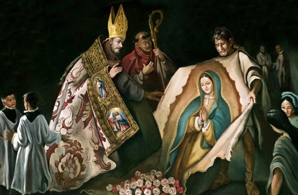 The Our Lady of Guadalupe image revealed for the first time on St. Juan Diego's tilma