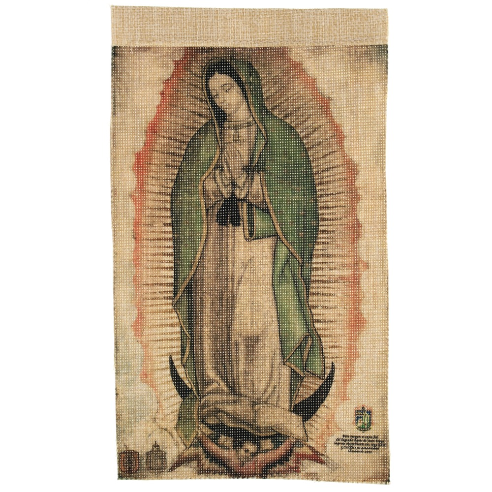 Our Lady of Guadalupe Small Faux Cactus Textile Banner