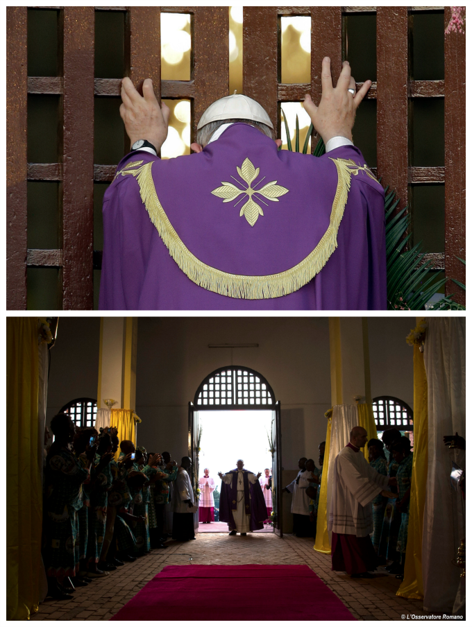 For the first time in history Pope Francis opens a Holy Door outside of Rome at Bangui's Cathedral during his Apostolic visit to Africa.