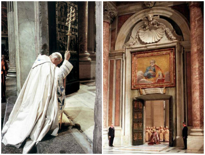 Pope St. John Paul II opening the Holy Doors in St. Peter's Basilica in 1983 and 2000.
