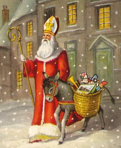 St. Nicholas with his donkey carrying gifts for children.