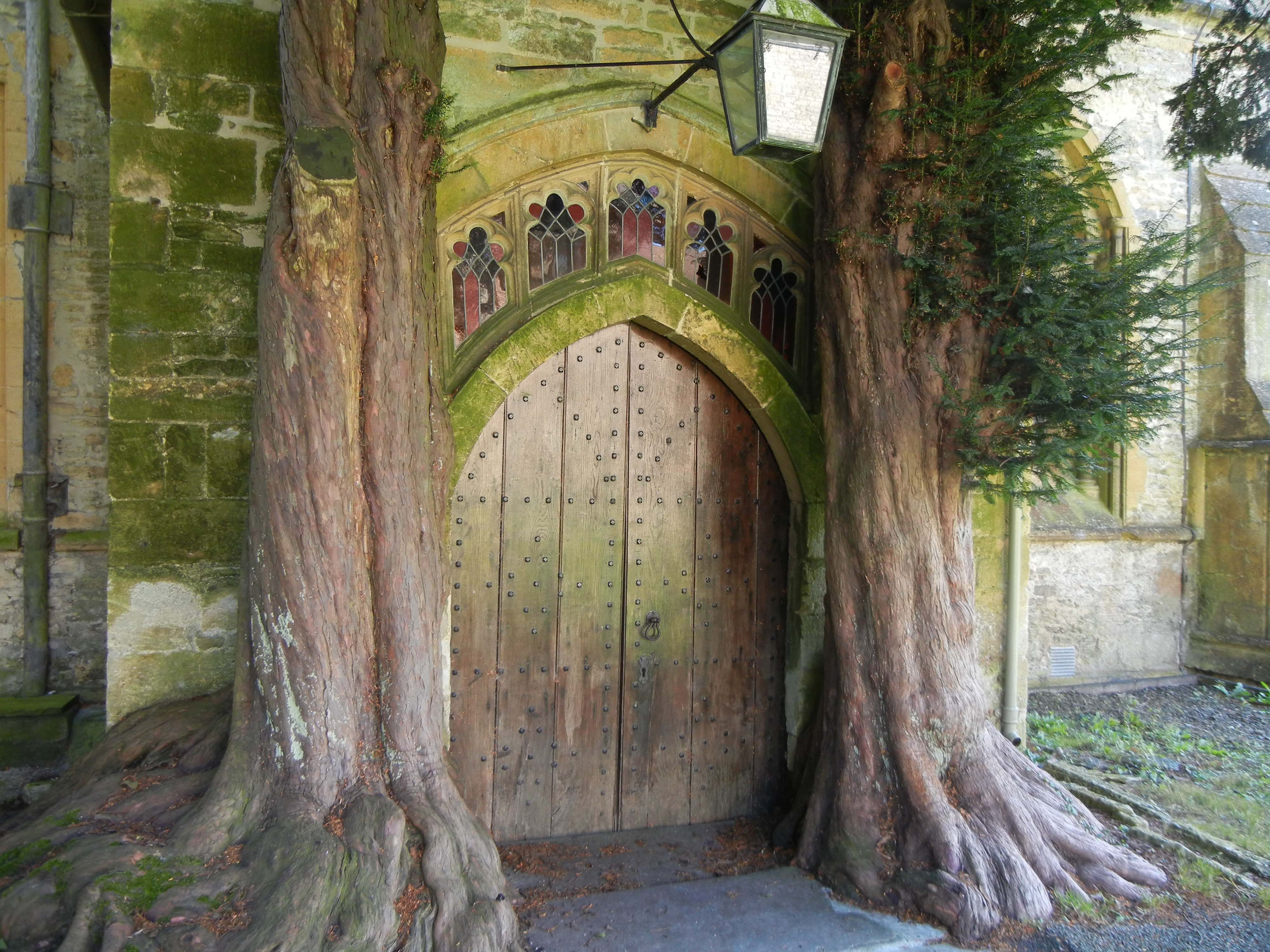 These medieval parish church doors in England, flanked by two ancient Yew trees, are believed to be the inspiration for the Doors of Durin from J.R.R. Tolkien's Lord of the Rings.