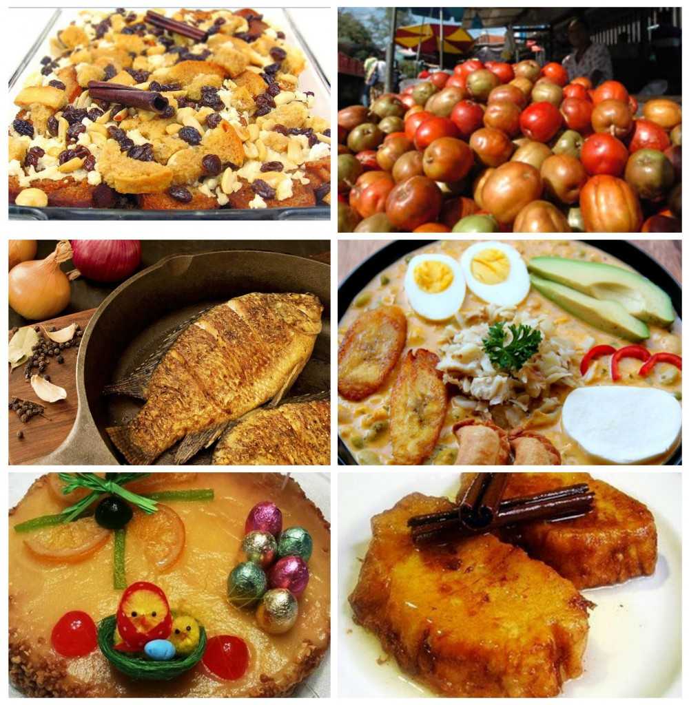 Some traditional, delicious and favorite dishes during Lent. From left to right in horizontal sequence: capirotada, jocotes, Mona de Pascua (pastry), torrijas or torrejas and fish prepared in many ways.