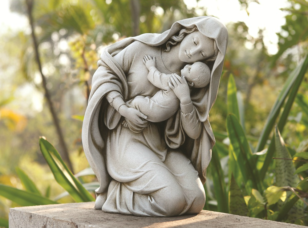 Kneeling Madonna & Child Garden Statue