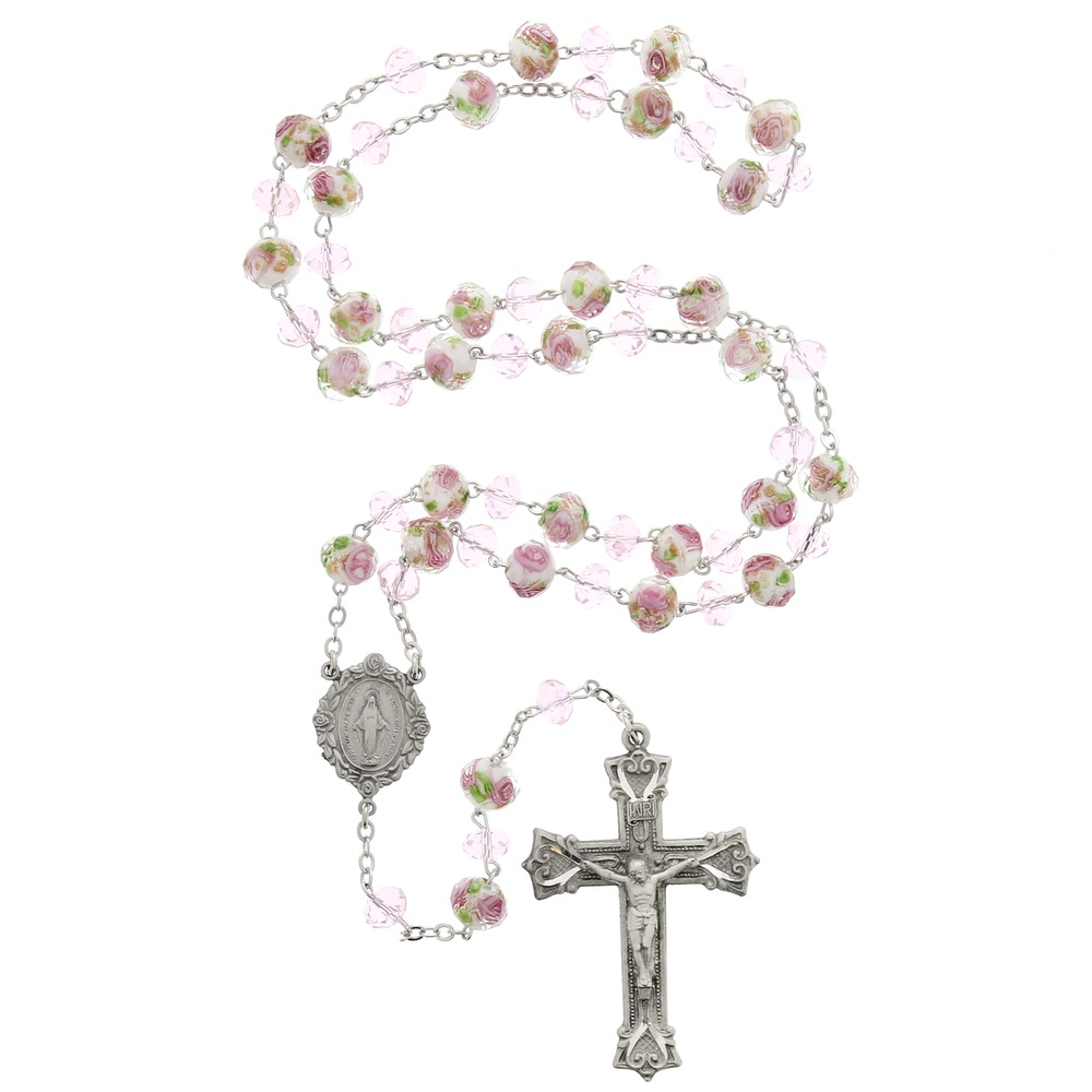 Heavenly Bouquet Pink Glass & Pewter Rosary