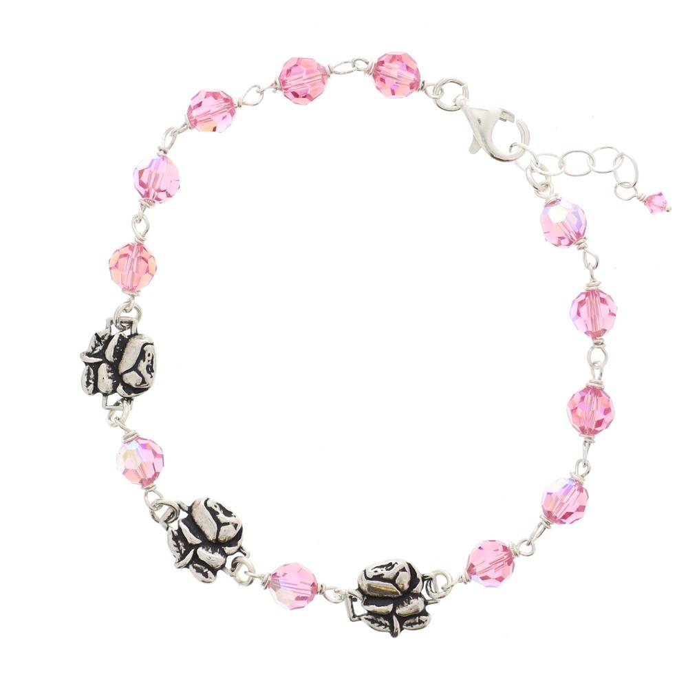 Sterling Silver Pink Swarovski Rosary Bracelet with Roses