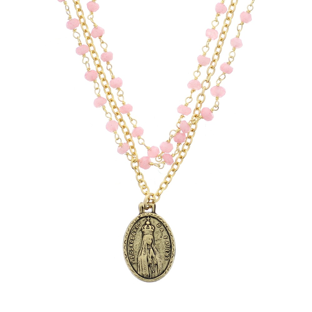 Stunning Pink Opal and Gold Fatima Necklace