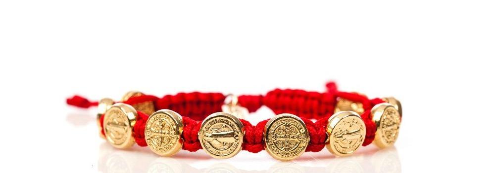 Red & Gold Macrame Saint Benedict Medal Bracelet
