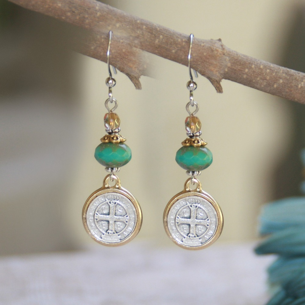 Elegant Turquoise Bead Saint Benedict Medal Earrings