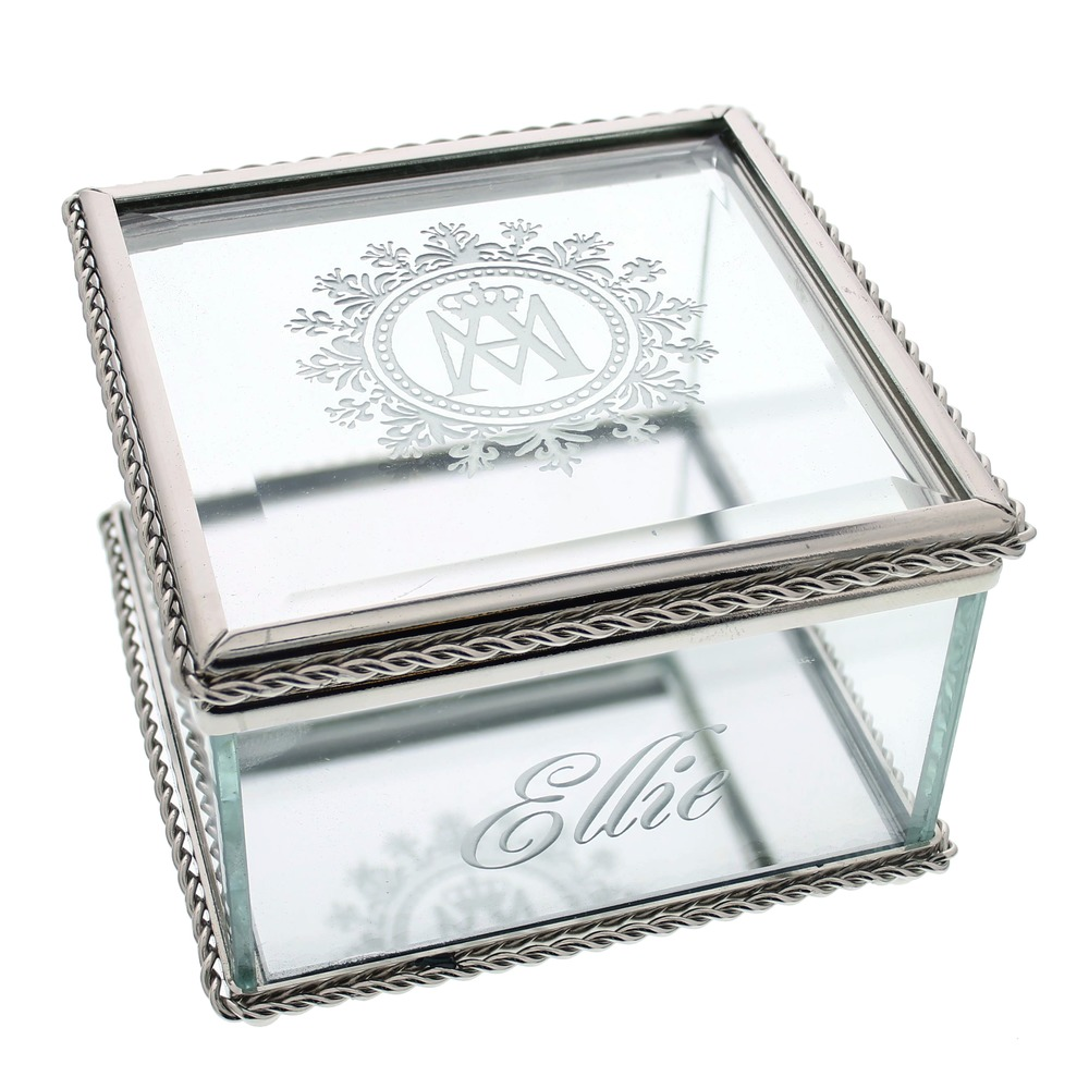 Personalized Marian Glass Keepsake Box