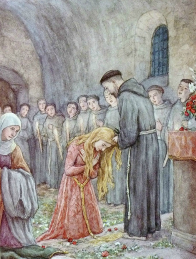 Saint Clare had her hair cut off by Saint Francis, and left a life of privilege for a life of humble poverty