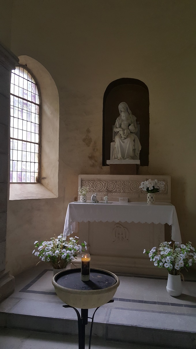 Side altar at the Basilica Our Lady of the Rosary in Prouilhe, France