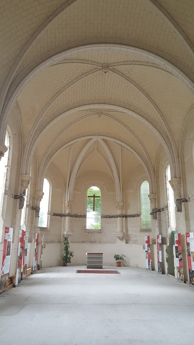 Inside the unfinished Basilica Our Lady of the Rosary in Prouilhe, France, the cradle of the Dominican Order.