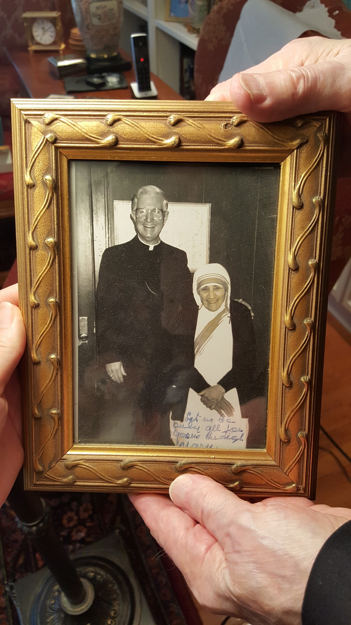 Bishop Curlin's autographed photo with Mother Teresa