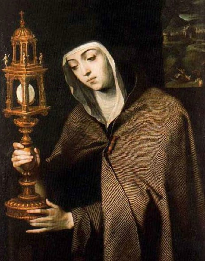 Saint Clare is usually depicted with a monstrance in hand