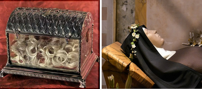 Saint Clare's relics. Her blond hair is still preserved. On the right, a figure has been placed over her skeletal remains.