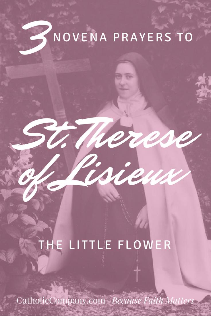 Three novena prayers to Saint Therese of Lisieux
