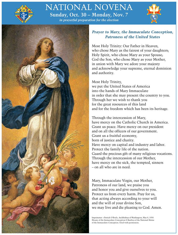 Novena for the U.S. election sponsored by the Knights of Columbus
