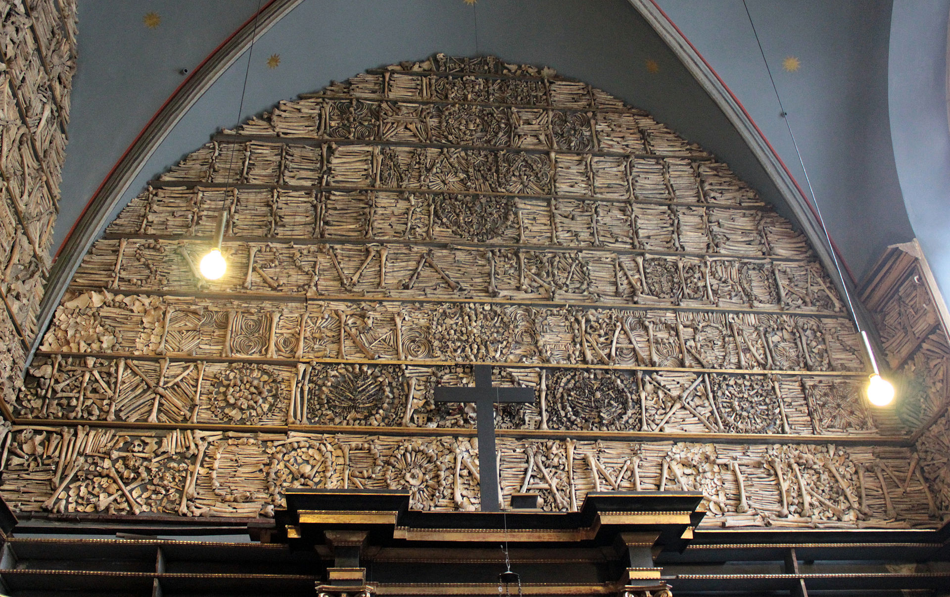 The wall of bones from the Church of St. Ursula and her 11,000 companions in Cologne, Germany