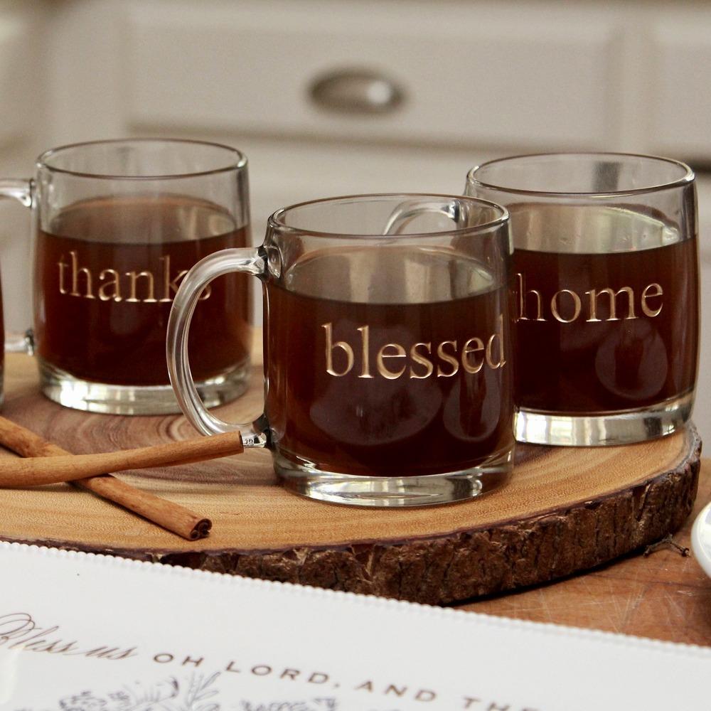 Glass & Gold Thanksgiving Mugs