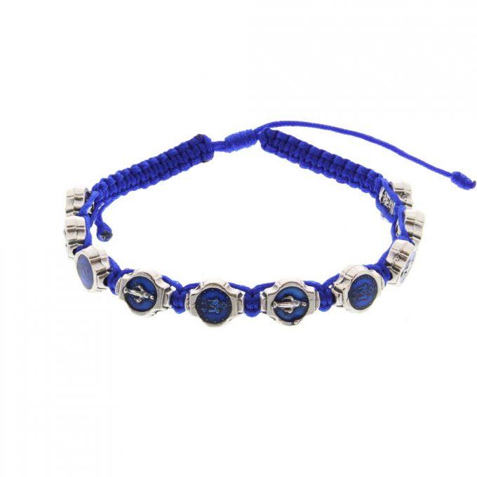 Miraculous Medal Blue Macrame Bracelet
