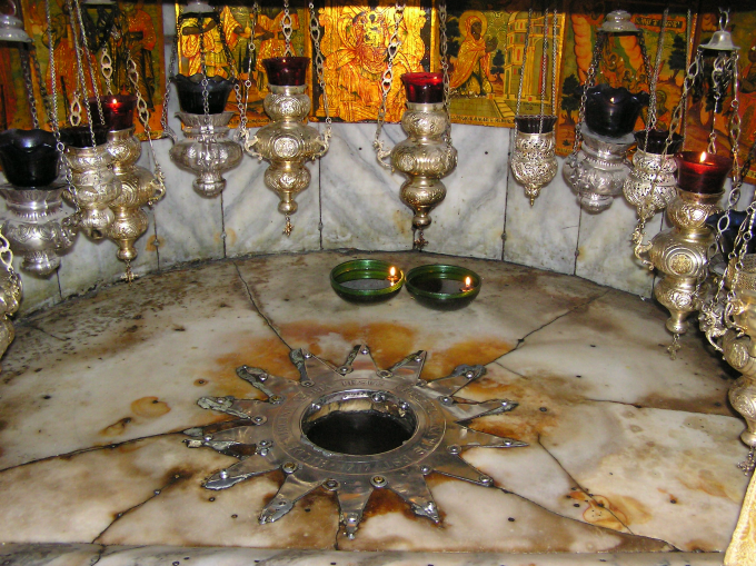 The spot where Jesus was born, venerated in the crypt of the Church of the Nativity