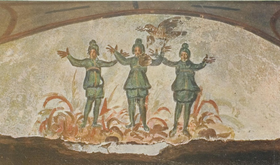Shadrach, Meshach, and Abednego thrown into the fiery furnace from the Catacombs of St. Priscilla
