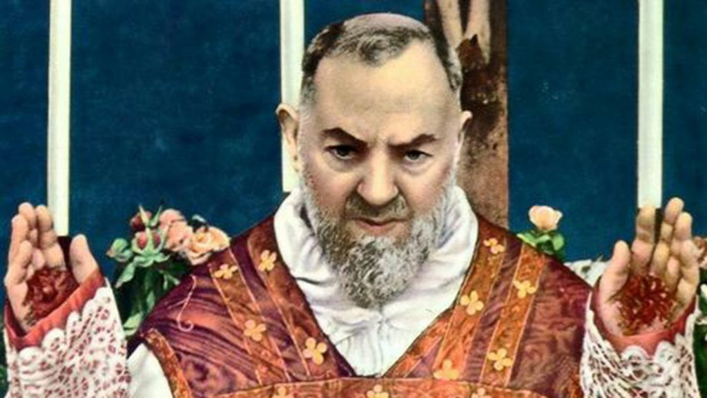 St. Padre Pio offering the Sacrifice of the Mass