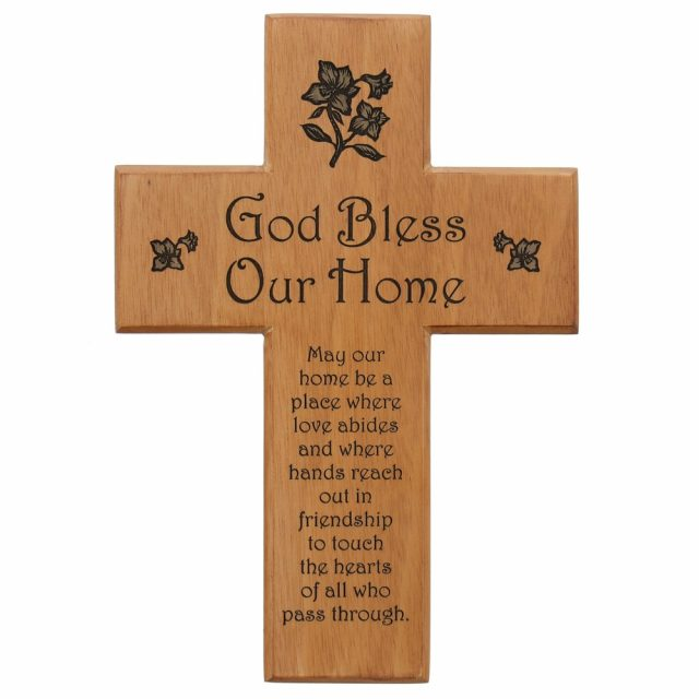 Bless Our Home Mahogany Wall Cross