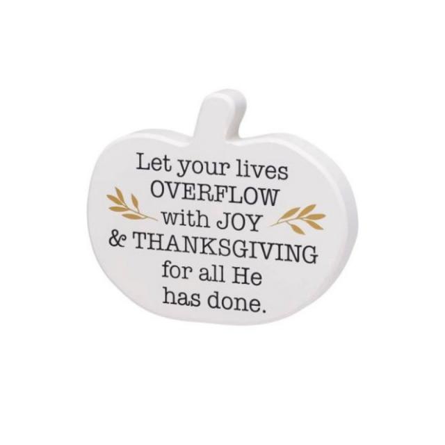 Thanksgiving and Joy Pumpkin Plaque