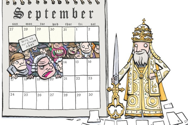 Pope Gregory cuts 11 days from the calendar