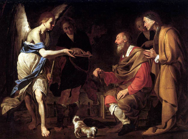 St. Raphael instructs Tobias on how to heal Tobit