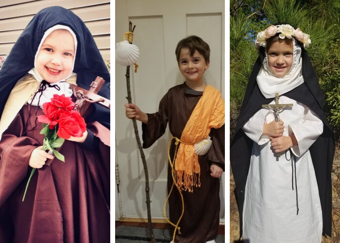 Children dressed as saints for All Saints Day